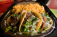 Photos of a carnitas taco dish with rice and beans at Taqueria Pedrito in Dallas, Texas, Thursday, September 3, 2009. Taqueria Pedrito was the first taqueria established in Dallas and opened in the 1970s..