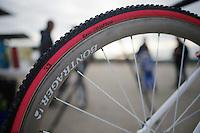 Katie Compton's (USA) tires<br /> <br /> UCI Worldcup Heusden-Zolder Limburg 2013