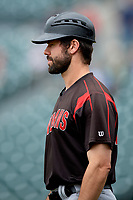 Indianapolis Indians Jonathan Schwind (10) during an International League game against the Buffalo Bisons on June 20, 2019 at Sahlen Field in Buffalo, New York.  Buffalo defeated Indianapolis 11-8  (Mike Janes/Four Seam Images)