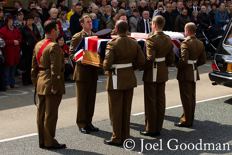 © Joel Goodman - 07973 332324 . 02/05/2012 .  Huddersfield, UK . The funeral of Private Anthony Frampton of the 3rd Battalion The Yorkshire Regiment at Huddersfield Parish Church. The Private, also known as Anton, was killed alongside five colleagues by a roadside IED in Afghanistan. Photo credit: Joel Goodman