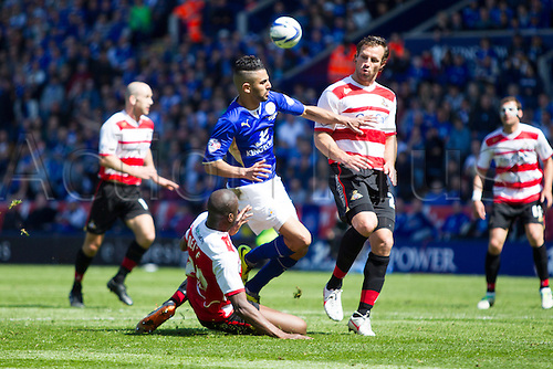 03.05.2014.  Leicester, England. Riyad MAHREZ (Leicester City) is brought down during the FA Championship match between Leicester City and Doncaster Rovers at The King Power Stadium.