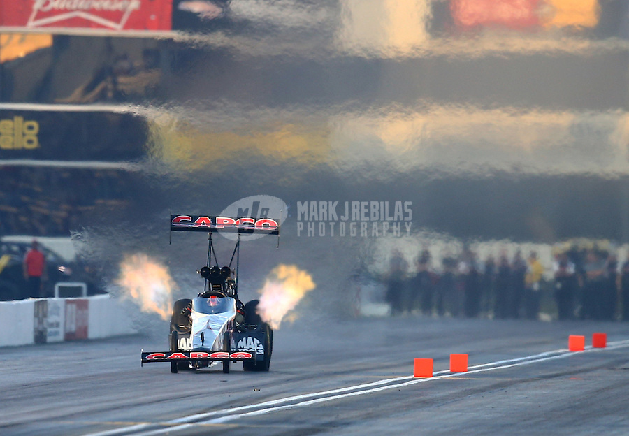 Feb 13, 2016; Pomona, CA, USA; NHRA top fuel driver Steve Torrence during qualifying for the Winternationals at Auto Club Raceway at Pomona. Mandatory Credit: Mark J. Rebilas-USA TODAY Sports