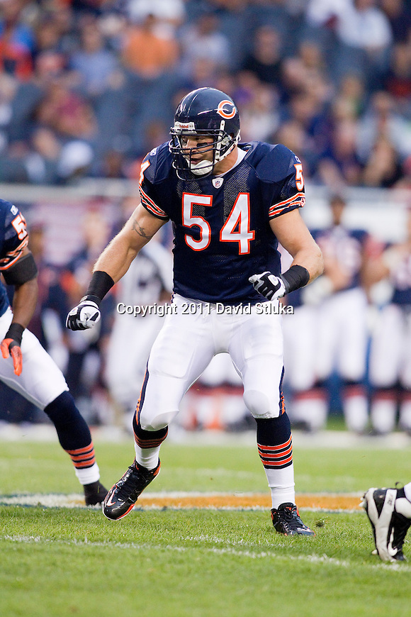Chicago Bears linebacker Brian Urlacher (54) plays defense during an NFL preseason football game against the Buffalo Bills in Chicago, Illinois on August 13, 2011. The Bears won 10-3. (AP Photo/David Stluka)
