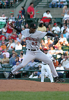 July 18, 2003:  Roberto Giron of the Indianapolis Indians, Class-AAA affiliate of the Milwaukee Brewers, during an International League game at Frontier Field in Rochester, NY.  Photo by:  Mike Janes/Four Seam Images