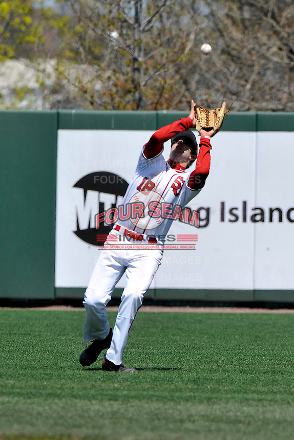 St.John's Red Storm outfielder Jeremy Baltz (18) during first game of a doubleheader against Notre Dame Fighting Irish at Jack Kaiser Stadium in Queens, New York;  April 21, 2011.  St. John's defeated Notre Dame 6-0.  Photo By Tomasso DeRosa/Four Seam Images