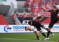 15th July 2020; Ashton Gate Stadium, Bristol, England; English Football League Championship Football, Bristol City versus Stoke City; Danny Batth of Stoke City heads home a goal under pressure from Filip Benkovic of Bristol City in 62nd minute for 1-1
