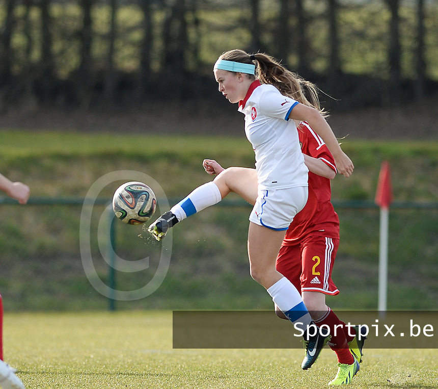 20150307 - TUBIZE , BELGIUM : Czech Franny Cerny pictured during the friendly female soccer match between Women under 19 teams of  Belgium and Czech Republic . Saturday 7th March 2015 . PHOTO DAVID CATRY