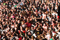 The audience at the Bristol date of the 2014 Kerrang Tour get sweaty and intimate with each other during the final&eacute; of Limp Bizkit's set.<br /> <br /> When the track 'Break Stuff' began, frontman Fred Durst erged everyone to look after each other, but to &quot;get off their feet&quot;. The crowd responded, eagerly erupting into a gigantic mosh pit that almost inveloped the venue.<br /> <br /> The most pit plays a vital role in the live performance of any metal band, and here, 15 years since it's original release, Limp Bizkit's 'Break Stuff' was still commanding the respect and participation of everyone in attendance.
