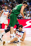 Real Madrid's player Rudy Fernandez injured and Unicaja Malaga's player Dejan Musli during match of Liga Endesa at Barclaycard Center in Madrid. September 30, Spain. 2016. (ALTERPHOTOS/BorjaB.Hojas)