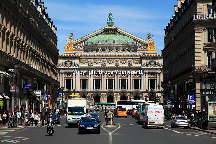 The exterior view of Opera Garnier. Palais Garnier. City of Paris. Paris