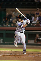 Salt River Rafters designated hitter Sam Hilliard (14), of the Colorado Rockies organization, at bat during an Arizona Fall League game against the Scottsdale Scorpions at Scottsdale Stadium on October 12, 2018 in Scottsdale, Arizona. Scottsdale defeated Salt River 6-2. (Zachary Lucy/Four Seam Images)