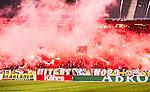 Solna 2015-03-07 Fotboll Allsvenskan AIK - Hammarby IF :  <br /> AIK:s supportrar eldar med bengaliska eldar inf&ouml;r den andra halvleken under matchen mellan AIK och Hammarby IF <br /> (Foto: Kenta J&ouml;nsson) Nyckelord:  AIK Gnaget Friends Arena Svenska Cupen Cup Derby Hammarby HIF Bajen supporter fans publik supporters tifo bengaler bengaliska eldar