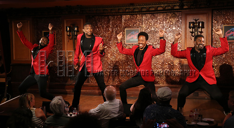 John Edwards, Dwayne Cooper,  Jelani Remy and Kyle Taylor Parker during the Press Preview Presentation for the new production of 'Smokey Joe's Cafe' at Feinstein's/54 Below on June 27, 2018 in New York City.