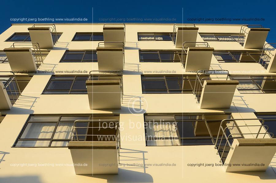 GERMANY, Dessau - Rosslau, famous Bauhaus, built 1925 - 1926 according the planning of  Walter Gropius as building for the Bauhaus school for architecture , art and design, building with rooms with balcony for master students