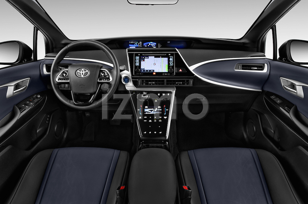 Stock photo of straight dashboard view of 2016 Toyota Mirai Mirai 4 Door Sedan Dashboard