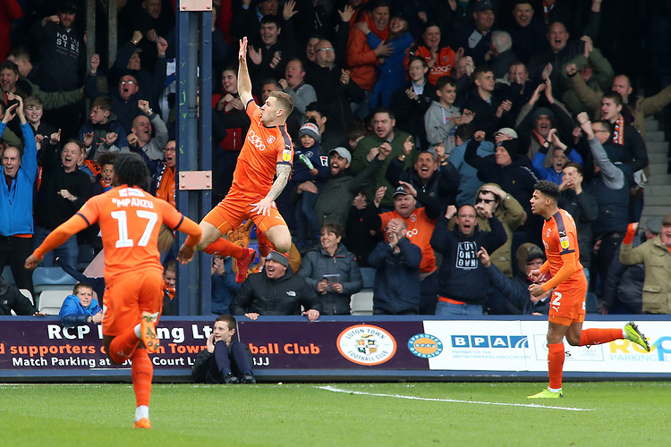Luton Town's James Collins celebrates scoring his side's first goal <br /> <br /> Photographer David Shipman/CameraSport<br /> <br /> The EFL Sky Bet League One - Luton Town v Blackpool - Saturday 6th April 2019 - Kenilworth Road - Luton<br /> <br /> World Copyright © 2019 CameraSport. All rights reserved. 43 Linden Ave. Countesthorpe. Leicester. England. LE8 5PG - Tel: +44 (0) 116 277 4147 - admin@camerasport.com - www.camerasport.com