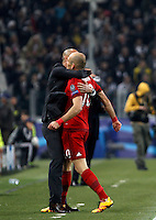 Calcio, andata degli ottavi di finale di Champions League: Juventus vs Bayern Monaco. Torino, Juventus Stadium, 23 febbraio 2016. <br /> Bayern&rsquo;s Arjen Robben, right, is hugged by coach Josep Guardiola after scoring during the Champions League first leg round of 16 football match between Juventus and Bayern at Turin's Juventus Stadium, 23 February 2016.<br /> UPDATE IMAGES PRESS/Isabella Bonotto
