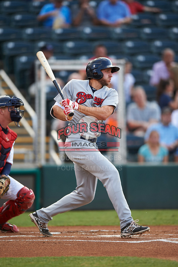 Brevard County Manatees first baseman Dustin DeMuth (4) at bat during a game against the Fort Myers Miracle on April 13, 2016 at Hammond Stadium in Fort Myers, Florida.  Fort Myers defeated Brevard County 3-0.  (Mike Janes/Four Seam Images)