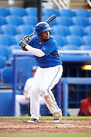 GCL Blue Jays designated hitter Francisco Rodriguez (55) at bat during the first game of a doubleheader against the GCL Phillies on August 15, 2016 at Florida Auto Exchange Stadium in Dunedin, Florida.  GCL Phillies defeated the GCL Blue Jays 7-5 in a continuation of a game originally started on July 30th.  (Mike Janes/Four Seam Images)