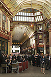 Leadenhall Market City of London EC3 UK. City office workers business men lunchtime drink.