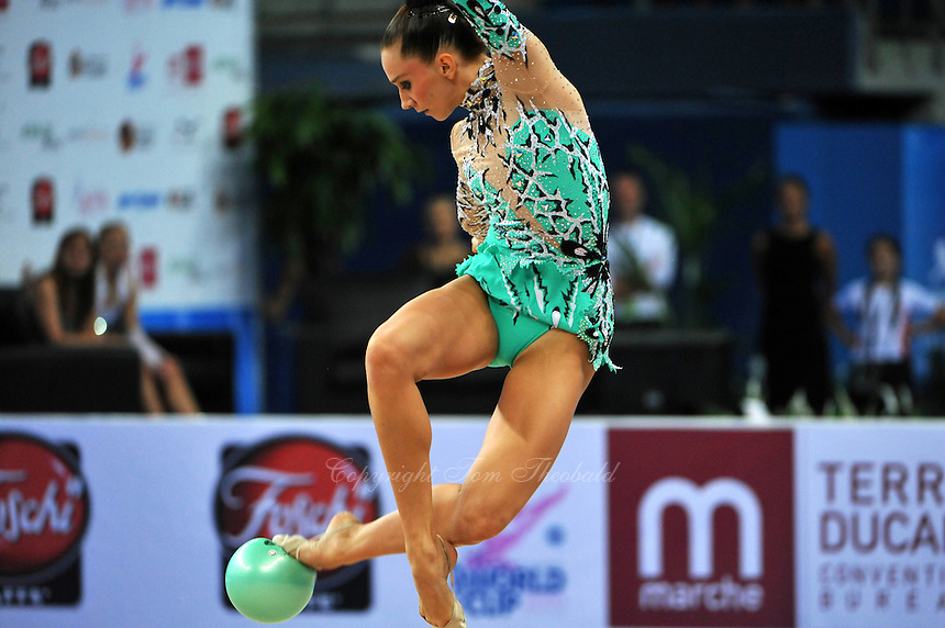 Liubov Charkashyna of Belarus performs with ball at 2010 Pesaro World Cup on August 27, 2010 at Pesaro, Italy.  Photo by Tom Theobald.