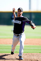 Colorado Rockies minor league pitcher Jefri Hernandez #43 during an instructional league intrasquad game at the Salt River Flats Complex on October 5, 2012 in Scottsdale, Arizona.  (Mike Janes/Four Seam Images)
