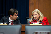 United States Representative Carolyn Maloney (Democrat of New York) speaks to a staffer prior to the testimony of United States Secretary of the Treasury Steven T. Mnuchin before the United States House Committee on Financial Services at the United States Capitol in Washington D.C., U.S., on Thursday, December 5, 2019. <br /> <br /> Photographer: Stefani Reynolds/CNP