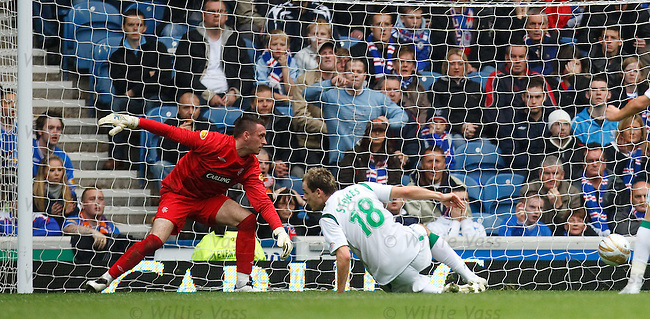 Anthony Stokes puts the ball in the net past Allan McGregor but the Hibs goal is chalked off