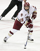 Brock Bradford 19 of Boston College controls the puck. The Eagles of Boston College defeated the Falcons of Bowling Green State University 5-1 on Saturday, October 21, 2006, at Kelley Rink of Conte Forum in Chestnut Hill, Massachusetts.<br />