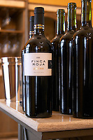 Bottles of Finca Roja Pinot Noir Bodega Del Anelo Winery, also called Finca Roja, Anelo Region, Neuquen, Patagonia, Argentina, South America