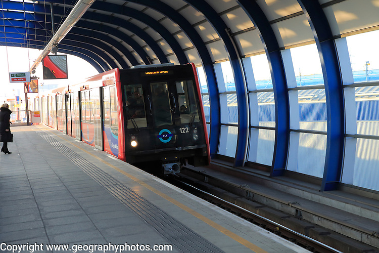 Docklands Light Railway train at City Airport station, London, England, UK
