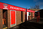 A sign advertising a small museum dedicated to non-League football at Wincham Park, home of Witton Albion, pictured before their Northern Premier League premier division fixture with Warrington Town. Formed in 1887, the home team have played at their current ground since 1989 having relocated from the Central Ground in Northwich. With both team chasing play-off spots, the visitors emerged with a 2-1 victory, the winner being scored by Tony Gray in second half injury time, watched by a crowd of 503.