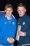 St Johnstone FC Youth Academy Presentation Night at Perth Concert Hall..21.04.14<br /> David Wotherspoon presents to Jamie Wilson<br /> Picture by Graeme Hart.<br /> Copyright Perthshire Picture Agency<br /> Tel: 01738 623350  Mobile: 07990 594431