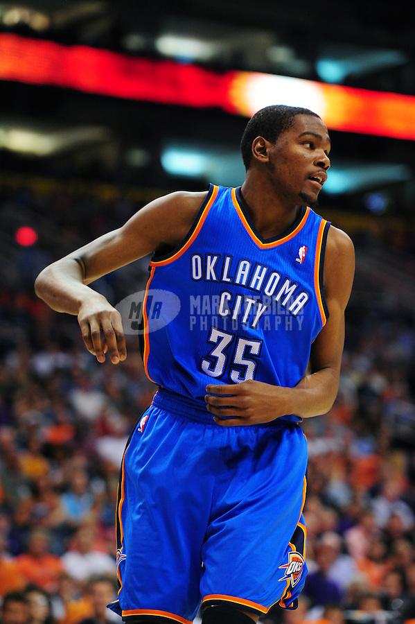 Mar. 30, 2011; Phoenix, AZ, USA; Oklahoma City Thunder forward (35) Kevin Durant against the Phoenix Suns at the US Airways Center. Mandatory Credit: Mark J. Rebilas-