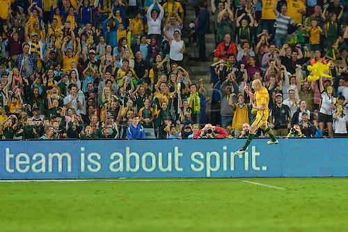 29.03.2016. Allianz Stadium, Sydney, Australia. Football 2018 World Cup Qualification match Australia versus Jordan.  Australian mifielder Aaron Mooy scores for 2-0 in the 39th minute. Australia won 5-1.