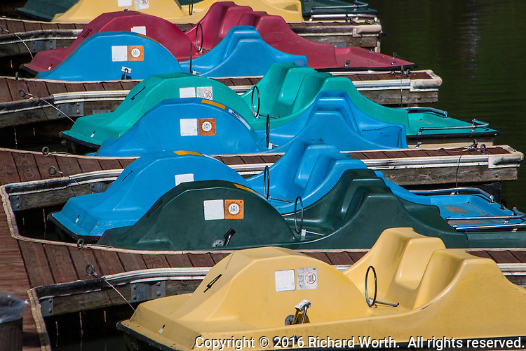 Colorful ready-to-rent paddle boats  wait their turn in queue at the Lake Chabot Marina.