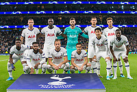 Spurs pre match team photo (back row l-r) Toby Alderweireld, Moussa Sissoko, Goalkeeper Hugo Lloris, Jan Vertonghen & Dele Alli (front row l-r) Serge Aurier, Danny Rose, Harry Kane, Harry Winks, Son Heung-Min & Tanguy NDombele during the UEFA Champions League group match between Tottenham Hotspur and Bayern Munich at Wembley Stadium, London, England on 1 October 2019. Photo by Andy Rowland.