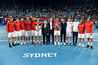 12th January 2020; Sydney Olympic Park Tennis Centre, Sydney, New South Wales, Australia; ATP Cup Australia, Sydney, Day 10; Serbia versus Spain; ATP Cup final ceremony; winners Team Serbia with Novak Djokovic and runners up Team Spain with Rafael Nadal of Spain pose wfor a photo with Ken Rosewall - Editorial Use