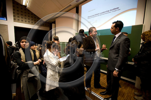 AMSTERDAM - NETHERLANDS - 06 MARCH 2008 -- Students at the opening of the Moroccan Dutch Leadership Institute at the Vrije Universiteit. Photo: Erik Luntang/EUP-IMAGES