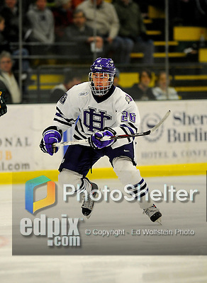 29 December 2007: Holy Cross Crusaders' forward Dewey Thomson, a Junior from Northbridge, MA, in action against the University of Vermont Catamounts at Gutterson Fieldhouse in Burlington, Vermont. The Catamounts rallied in the final seconds of play to tie the game 1-1. After overtime, although the official result remained a tie game, the Cats moved up to the championship round by winning a sudden death shootout in the second game of the Sheraton/TD Banknorth Catamount Cup Tournament...Mandatory Photo Credit: Ed Wolfstein Photo