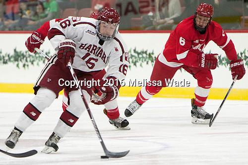 Ryan Donato (Harvard - 16), Holden Anderson (Cornell - 6) - The Harvard University Crimson defeated the visiting Cornell University Big Red on Saturday, November 5, 2016, at the Bright-Landry Hockey Center in Boston, Massachusetts.