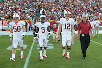 LOS ANGELES, CA - October 29, 2011:  Stanford's captains and honorary captain before Stanford's game against USC at the LA Coliseum in Los Angeles, CA.  Stanford won in triple overtime, 56 -48, and extended its winning streak to 16 games.