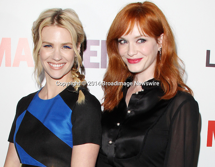 Pictured: January Jones, Christina Hendricks<br /> Mandatory Credit &copy; Frederick Taylor/Broadimage<br /> &quot;Mad Men&quot; Season 7 Premiere <br /> <br /> 4/2/14, Hollywood, California, United States of America<br /> <br /> Broadimage Newswire<br /> Los Angeles 1+  (310) 301-1027<br /> New York      1+  (646) 827-9134<br /> sales@broadimage.com<br /> http://www.broadimage.com