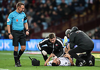 Bolton Wanderers' Jack Hobbs lis treated as referee Oliver Longford looks on<br /> <br /> Photographer Andrew Kearns/CameraSport<br /> <br /> The EFL Sky Bet Championship - Aston Villa v Bolton Wanderers - Friday 2nd November 2018 - Villa Park - Birmingham<br /> <br /> World Copyright &copy; 2018 CameraSport. All rights reserved. 43 Linden Ave. Countesthorpe. Leicester. England. LE8 5PG - Tel: +44 (0) 116 277 4147 - admin@camerasport.com - www.camerasport.com