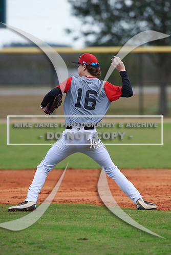 Brayden Goins (16) of Versailles, Kentucky during the Baseball Factory All-America Pre-Season Rookie Tournament, powered by Under Armour, on January 13, 2018 at Lake Myrtle Sports Complex in Auburndale, Florida.  (Michael Johnson/Four Seam Images)
