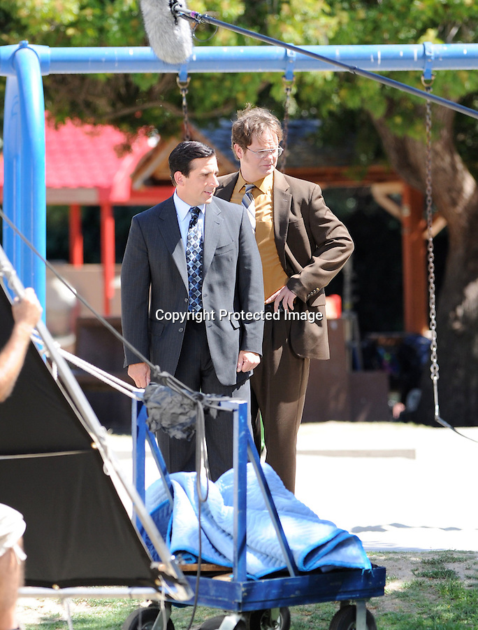 "...August 19th 2010 . .Paul Lieberstein.Steve Carell & Rainn Wilson filming a scene for the hit tv show ""The Office"" at a park in Hollywood. The two confront an old lady at a park & Rainn grabs her arm & pulls her off the park bench. ..AbilityFilms@yahoo.com.805-427-3519.www.AbilityFilms.com"