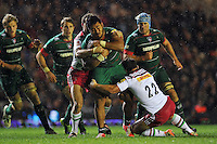 Manu Tuilagi of Leicester Tigers takes on the Harlequins defence. Aviva Premiership match, between Leicester Tigers and Harlequins on October 10, 2014 at Welford Road in Leicester, England. Photo by: Patrick Khachfe / JMP