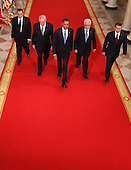 (L-R) Egyptian President Hosni Mubarak, Israeli Prime Minister Benjamin Netanyahu, U.S. President Barack Obama, Palestinian Authority President Mahmoud Abbas, and King Abdullah II of Jordan walk toward the East Room of the White House for statements on the first day of the Middle East peace talks September 1, 2010 in Washington, DC. The White House has kicked off a new round of direct peace talks for the Middle East, the first one in more than 18 months.  .Credit: Alex Wong - Pool via CNP
