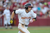Second baseman Brandon Lowe (16) of the Maryland Terrapins in an NCAA Division I Baseball Regional Tournament game against the South Carolina Gamecocks on Saturday, May 31, 2014, at Carolina Stadium in Columbia, South Carolina. Maryland won, 4-3. (Tom Priddy/Four Seam Images)