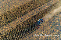 63801-12410 Harvesting corn in fall-aerial  Marion Co. IL